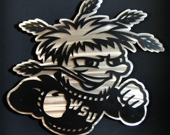 "Featured listing image: 18"" Stainless Steel Metal WUShock Wall Art Wichita State University College Mascot Kansas Metal Art"