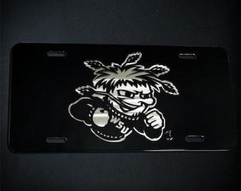 Layered Stainless Steel Metal WSU Shocker License Plate Wichita State Car Tag