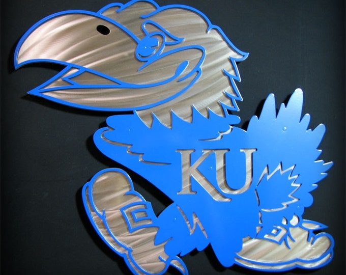 "Featured listing image: 18"" Stainless Steel Metal Layered Jayhawk Wall Art KU Kansas University"