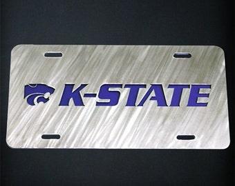 Layered Stainless Steel Metal Kansas State License Plate KSU K-State Car Tag
