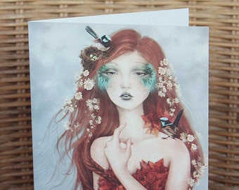 Blue Wren Fairy Red Haired Faerie Dryad Goddess Greeting Card // Print of Original Fantasy Illustration 'Wrencatcher'