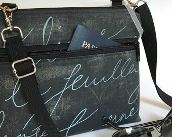 Kay Bag, By Marilyn, clutch, purse, handbag, French, messenger, removable strap, French Script, cell phone, electronic, Marilyn, travel