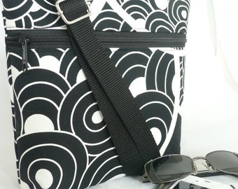 Lucy I Bag, Messenger Style, Black & White Geo Print