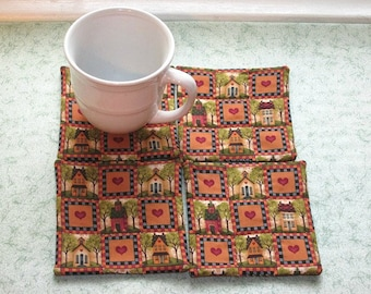 SALE was 10 NOW 6 school and house hand quilted set of mug rugs coasters