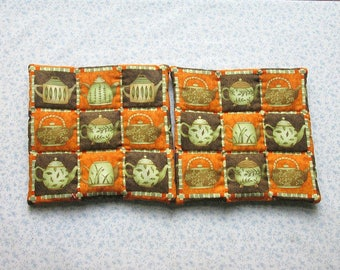 SALE   was 9.50 NOW 6 tea kettle hand quilted set of 2 potholders hot pads