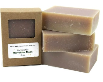 Marvelous Musk Bar Soap 5.5 oz. Cold Process, Handmade, Masculine