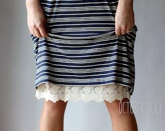 H1- Lace Slip Dress Extender HALF SLIP  *Style 1* size S-3XL, Knee Length