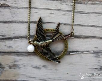 Vintage Antique Bronze Mockingjay Necklace inspired by Hunger Games