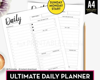 Daily Planner A4, Hourly Planner Insert, A4 Planner Insert Printable, Day organizer, A4 daily planner inserts, A4 Organiser, Minimalist