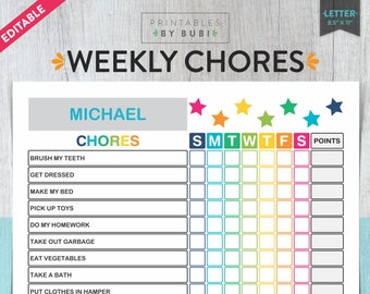 picture about Printable Chore Charts for Multiple Children titled Children chore chart Etsy