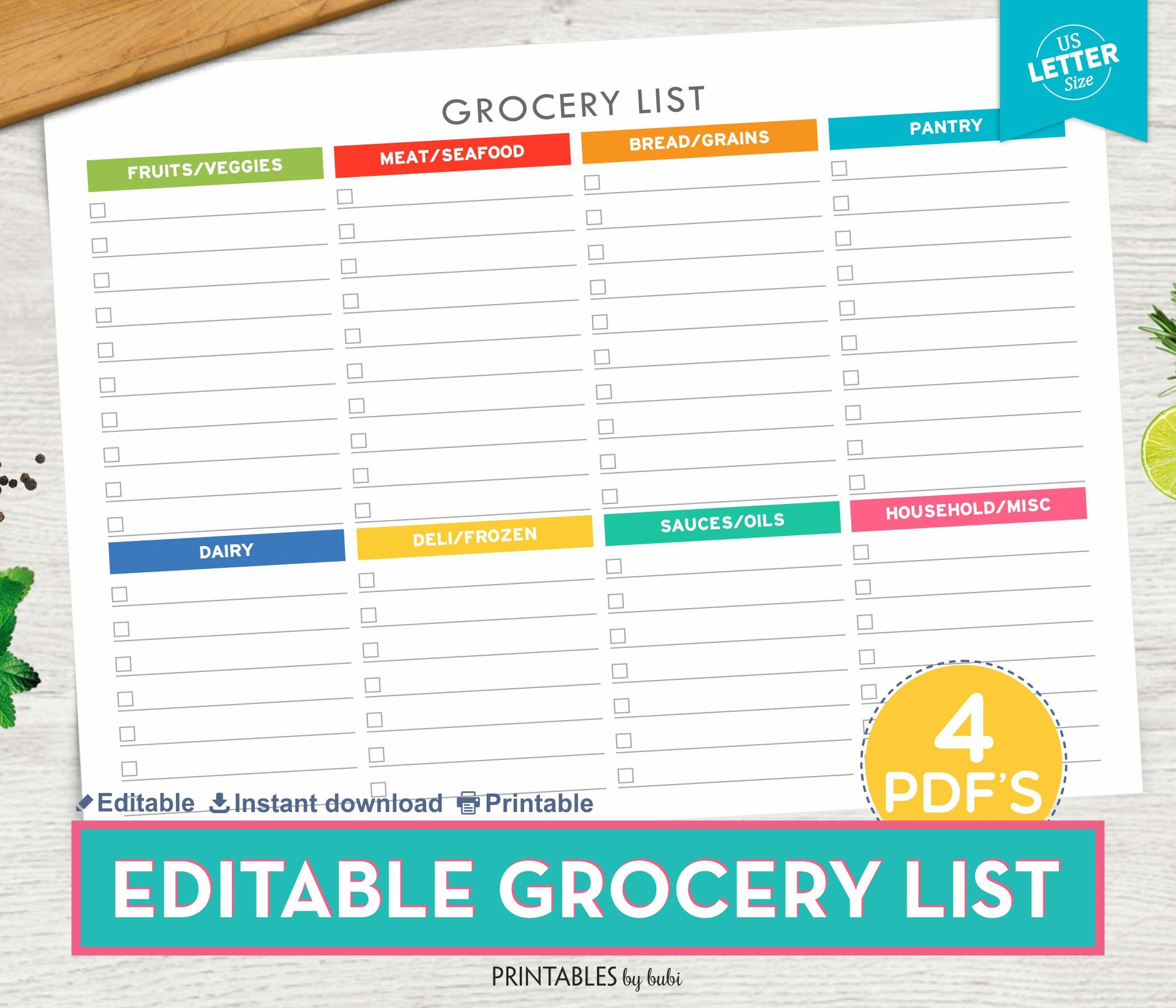 grocery list editable shopping list printable grocery list | etsy
