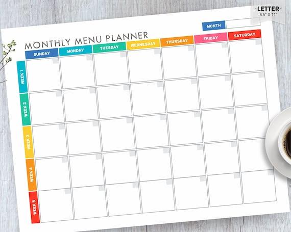 Meal Planner Printable Menu Planner EDITABLE Monthly Meal