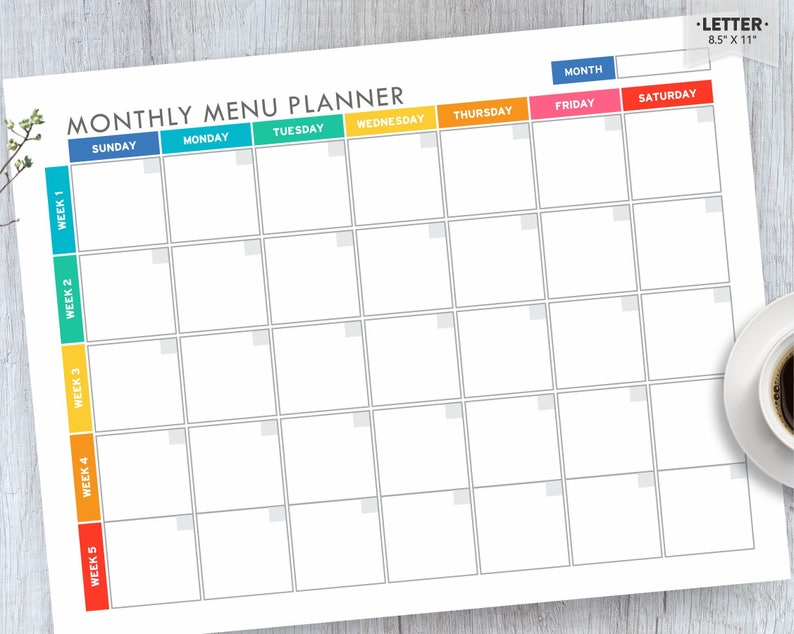 photograph regarding Menu Planner Printable named Dinner Planner Printable, Menu Planner EDITABLE, Month-to-month Evening meal Planner, Supper Software, Evening meal Creating, Menu Planner, Letter PDF