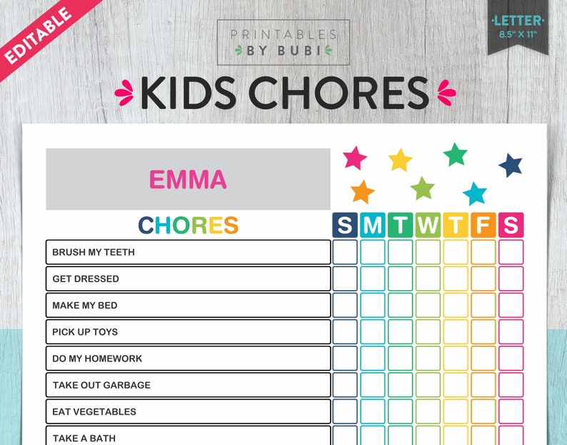 photo regarding Chores Printable identify Little ones Chore Chart, Printable Children Chore Chart Method, Printable Young children Chore Chart 8.5 x 11, Printable Children Chores EDITABLE Immediate Obtain