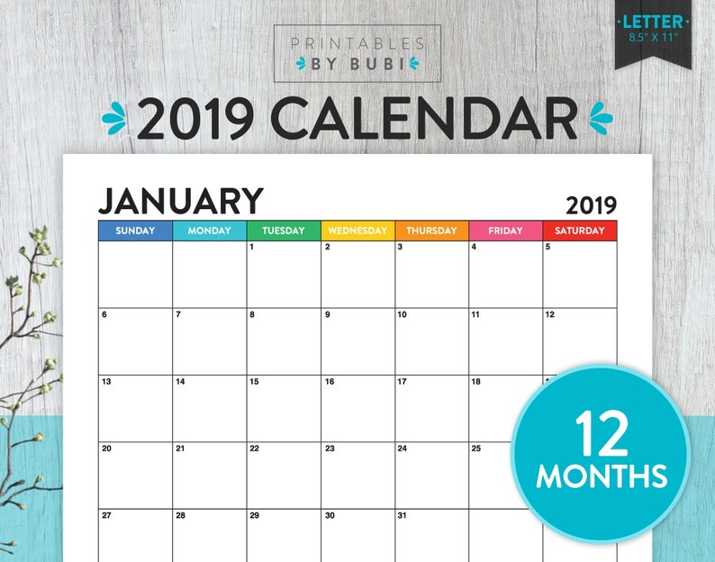 Printable Monthly Calendar 2019 Calendar Printable 2019 Wall Etsy