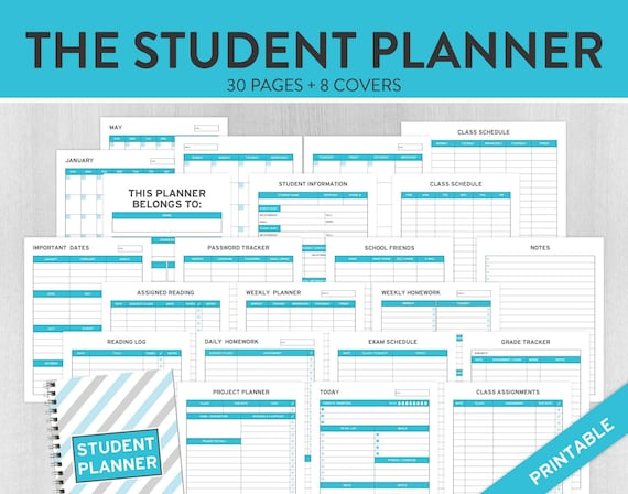 study planner student planner college planner academic etsy
