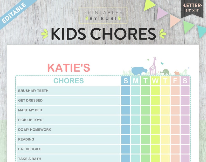 graphic regarding Printable Chore Charts Pdf titled Little ones Chore Chart, Printable Chore Chart, Chore Chart for Children, Youngsters Chores, Accountability Chart, Editable PDF, Little one Chore Chart