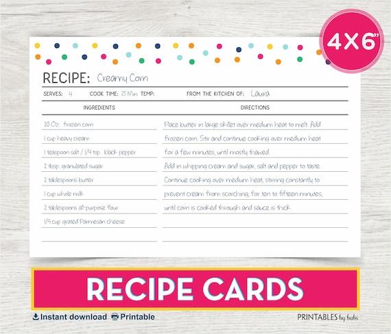 Items Similar To Recipe Card, 4x6 Recipe Card, Printable