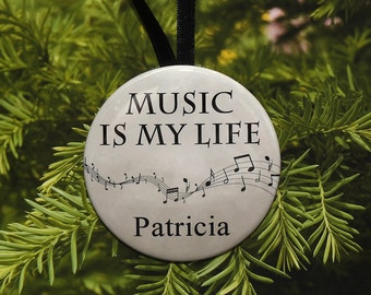 Music Is My Life Personalized Ornament - music notes - customized - C065 - singer marching band choir