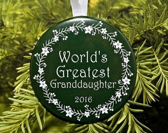 World's Greatest Granddaughter Christmas Ornament - 5 color choices - C163