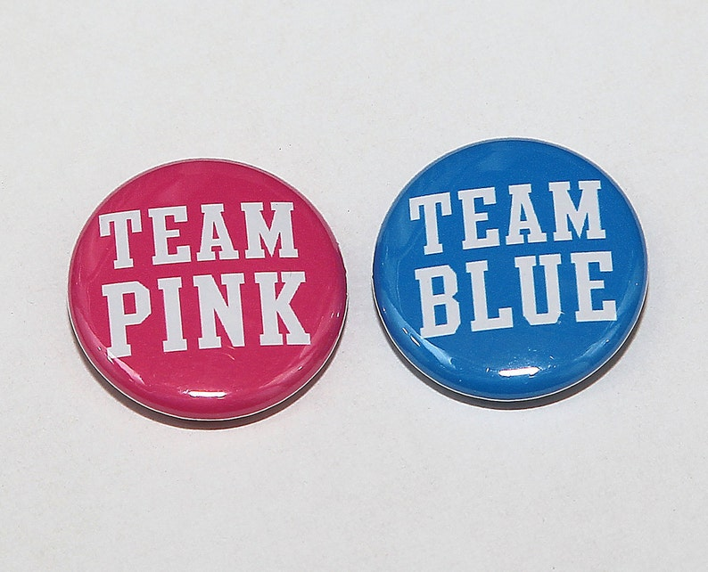 Gender Reveal Party Favors Team Pink Team Blue BOLD 25 Baby Shower 1 Pinbacks