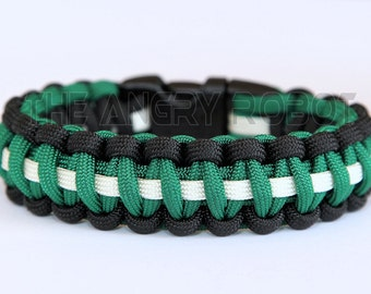 550 Paracord Survival Bracelet - Black Green White