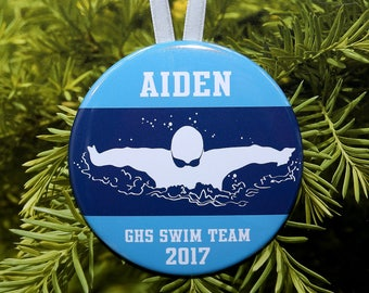 Swimmer Silhouette Christmas Ornament - team colors - customized - boys men swim swimming butterfly - C208