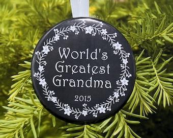 World's Greatest Grandma Christmas Ornament - 5 color choices - C103