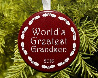 World's Greatest Grandson Christmas Ornament - 5 color choices - C160