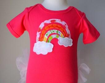 Rainbow appliqué on SHORT sleeved Tutu Onezee Fuchsia Bodysuit with built-on Pink Tutu, baby tutu, baby girls shower gift, infant tutu, tutu