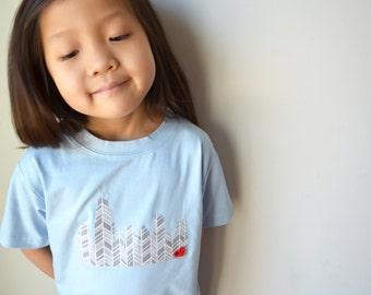 Chicago Skyline short sleeve kids unisex shirt, onesie, onezee, children's t-shirt chicago, Illinois t-shirt, chicago, 0-3 month to 14 years