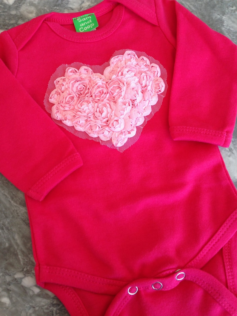 Floral Heart on LONG sleeve Fuchsia Top  Valentine's day image 0