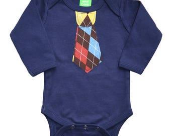 CLEARANCE 70% OFF Argyle Tie appliqué on Sky Blue Short Sleeve top,  baby tie onezee, boys tie t-shirt, boys t-shirt, toddler boy, boys tie