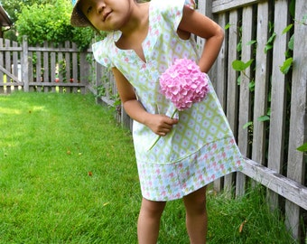 Kira French Country Tunic / Dress with Mock Sleeves 18-24 months, 2/3, 4/5, 6/7, 8/9, 10/11 infant, toddler, little girls dress