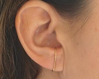 Thin Suspension Hoop Earring Round Double Suspender Earrings hook earrings stud simple earring Wrap Hoop 14k Rose gold minimalistic 0233