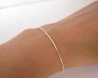 Dainty Bracelet Wedding Jewelry Skinny Silver Cuff Thin Sterling Silver Cuff Minimalist Layering Hammered Silver Cuff Bracelet