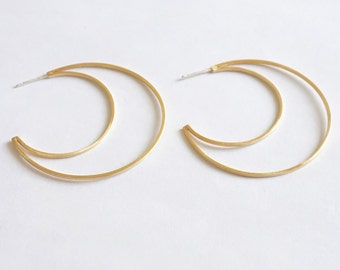 053a727ab Modern Open Flat Crescent Hoop Earrings honey colored Brass open hoop  earring with brushed finish & sterling silver post, sleek design 0261