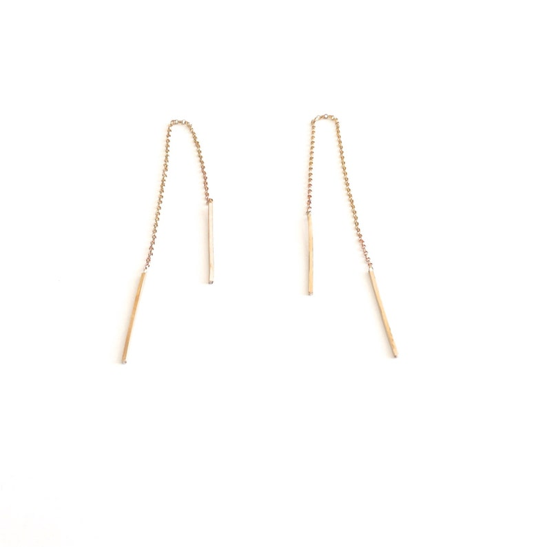 25mm Line Threader Solid square line Threader Earring Long Dangle Jewelry Sterling silver chain bar jewelry minimal classic 0224
