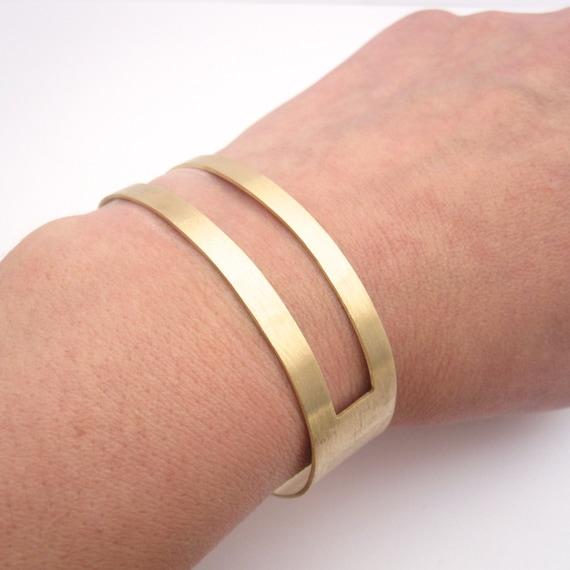 Gold Tone Square Open Cut Cuff Bracelet, Oval Bracelet-Geometry cuff, Striped Brass Cuff Bracelets 0185