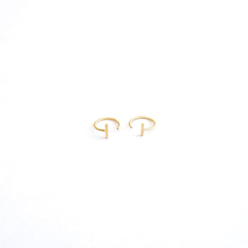 Staple Bar Hugging Hoops 14k Gold Filled Hug Earrings Ear image 0