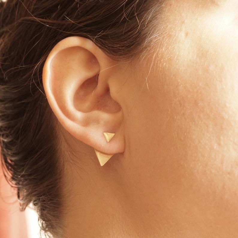 Triangle Shaped Ear Jacket earrings geometric triangle gift image 0