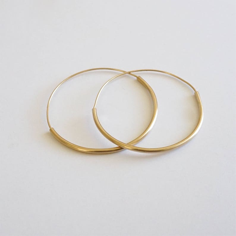 Simple Skinny Honey colored lightweight brass hoops with sterling silver ear wire minimal dangle earring Large Hoop jewelry 14k Gold 0056