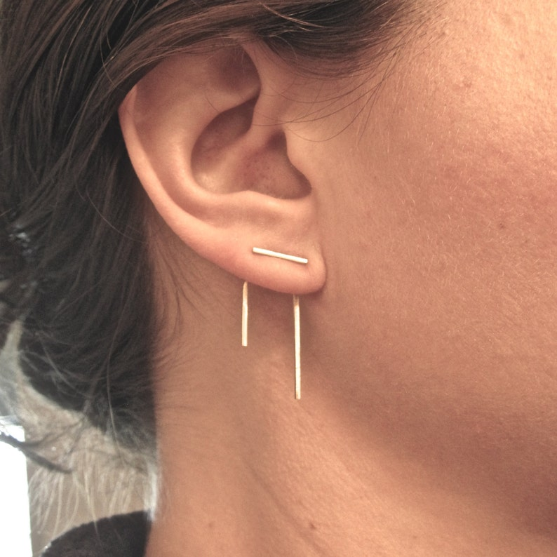 d83080c9f4b18 14K gold Staple line ear jacket stud set jacket pair & stud pair mix and  match earring jackets double sided earring front back earring 0144