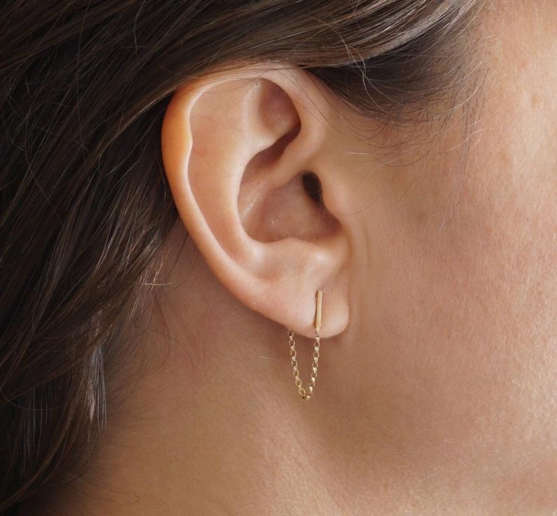 2e6abf12d Staple Bar Line Stud Earrings chain hoop tiny earrings Slim | Etsy