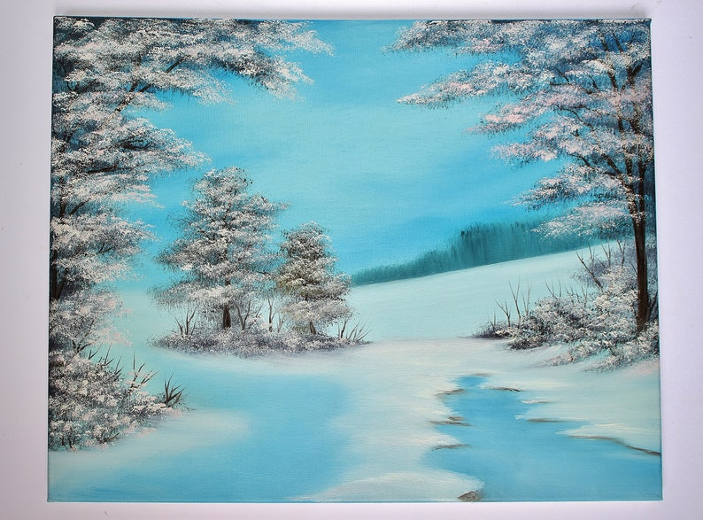 Bob Ross Oil Painting Landscape Winter Alaska Snow Winterscape Wilderness,  16x20 Cool Tones
