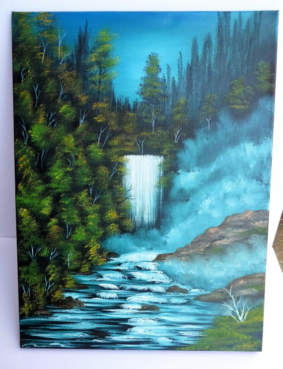 Bob Ross Style Oil Painting Winter Wilderness Alaska Waterfall Etsy