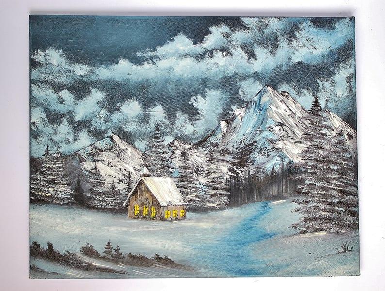 Bob Ross STYLE Christmas Eve Snow Church Landscape Mountain Alaska Oil  Painting on Canvas 16 x 20