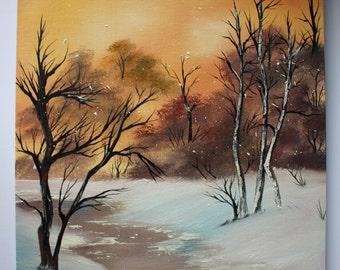 Bob Ross Style Winter Snow Warm Alaska Wilderness Landscape Oil Painting 16x20