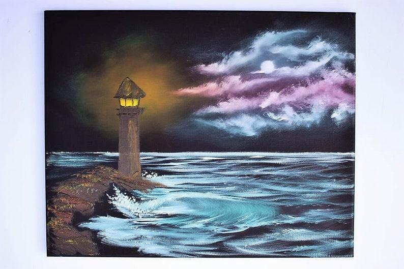 Bob Ross Style Oil Painting Seascape Landscape Ocean Night Etsy