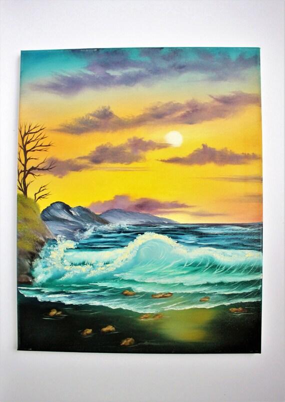 Stunning Bob Ross Style Oil Painting Oceanscape Ocean Seascape Etsy